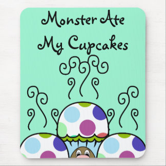 Cute Monster With Pink And Blue Polkadot Cupcakes Mouse Pad
