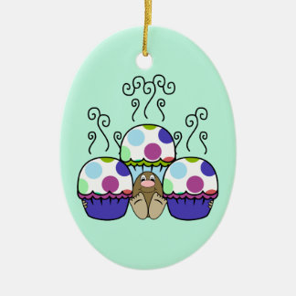 Cute Monster With Pink And Blue Polkadot Cupcakes Christmas Tree Ornament