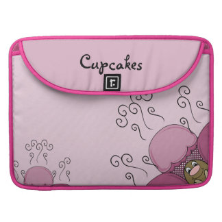 Cute Monster With Pink Frosted Cupcakes Sleeves For MacBook Pro