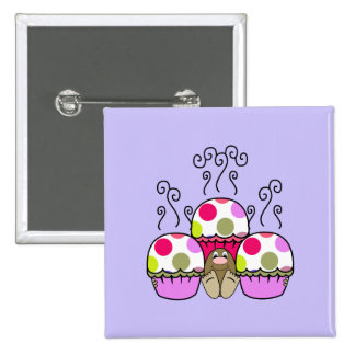 Cute Monster With Pink & Purple Polkadot Cupcakes Pinback Button