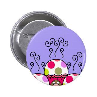 Cute Monster With Pink & Purple Polkadot Cupcakes Pin