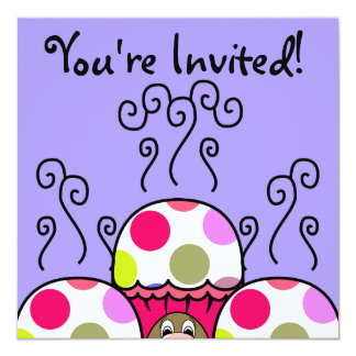 Cute Monster With Pink & Purple Polkadot Cupcakes Card
