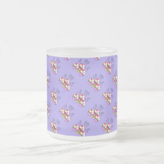 Cute Monster With Pink & Purple Polkadot Cupcakes Frosted Glass Coffee Mug