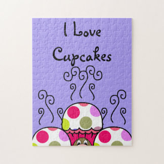 Cute Monster With Pink & Purple Polkadot Cupcakes Jigsaw Puzzles