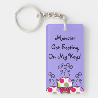 Cute Monster With Pink & Purple Polkadot Cupcakes Rectangular Acrylic Keychains