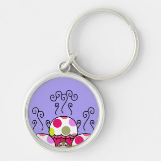 Cute Monster With Pink & Purple Polkadot Cupcakes Key Chains