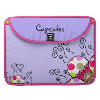 Cute Monster With Pink & Purple Polkadot Cupcakes MacBook Pro Sleeves