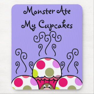 Cute Monster With Pink & Purple Polkadot Cupcakes Mouse Pad