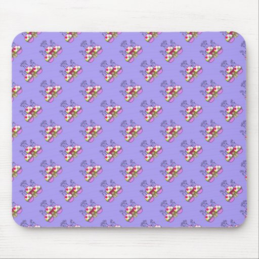 Cute Monster With Pink & Purple Polkadot Cupcakes Mousepads