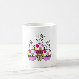 Cute Monster With Pink & Purple Polkadot Cupcakes Mugs