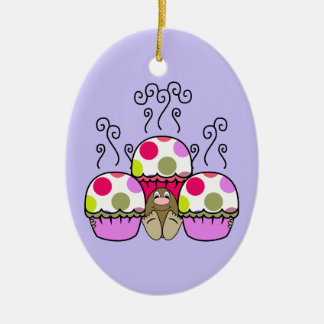 Cute Monster With Pink Purple Polkadot Cupcakes Christmas Ornament
