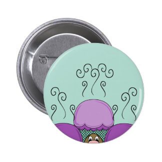 Cute Monster With Purple And Cyan Frosted Cupcakes Button