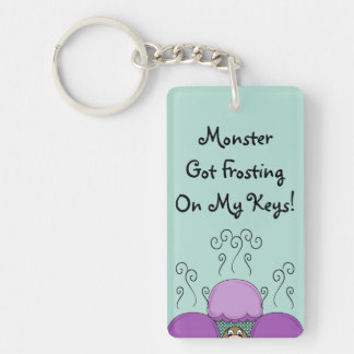 Cute Monster With Purple And Cyan Frosted Cupcakes Rectangle Acrylic Keychain