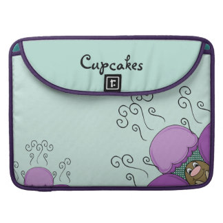 Cute Monster With Purple And Cyan Frosted Cupcakes Sleeves For MacBook Pro