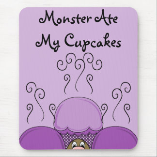 Cute Monster With Purple Frosted Cupcakes Mouse Pad