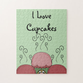 Cute Monster With Red And Green Frosted Cupcakes Jigsaw Puzzle