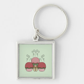 Cute Monster With Red And Green Frosted Cupcakes Keychain