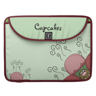 Cute Monster With Red And Green Frosted Cupcakes Sleeves For MacBook Pro