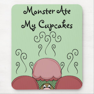 Cute Monster With Red And Green Frosted Cupcakes Mouse Pad