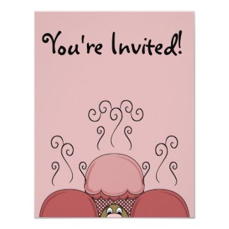 Cute Monster With Red Frosted Cupcakes Card