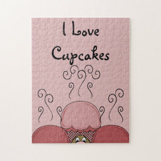 Cute Monster With Red Frosted Cupcakes Puzzle
