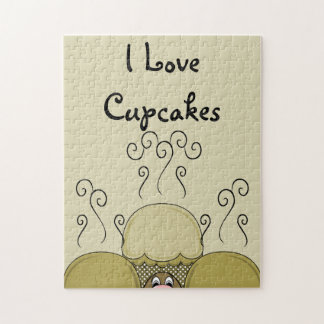 Cute Monster With Yellow Frosted Cupcakes Jigsaw Puzzle