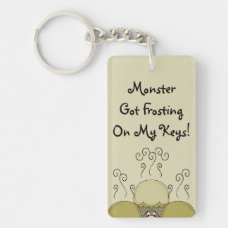 Cute Monster With Yellow Frosted Cupcakes Rectangle Acrylic Key Chain
