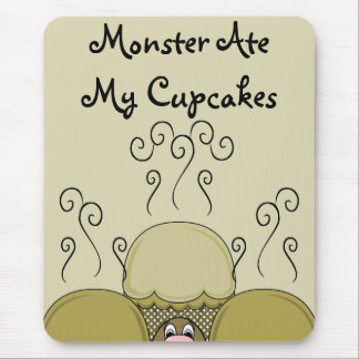 Cute Monster With Yellow Frosted Cupcakes Mouse Pad
