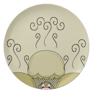 Cute Monster With Yellow Frosted Cupcakes Dinner Plates