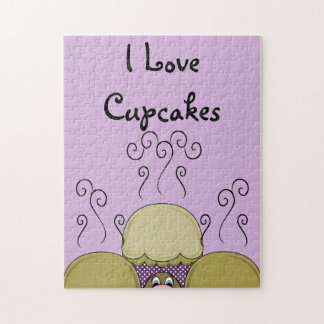 Cute Monster With Yellow & Purple Frosted Cupcakes Jigsaw Puzzles