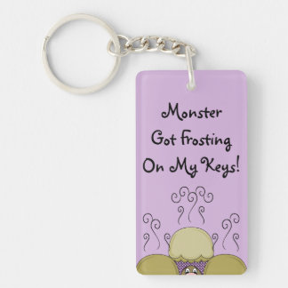 Cute Monster With Yellow & Purple Frosted Cupcakes Key Chains