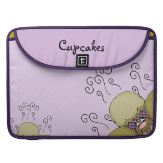 Cute Monster With Yellow & Purple Frosted Cupcakes Sleeves For MacBooks