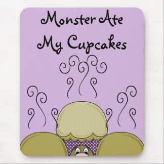 Cute Monster With Yellow & Purple Frosted Cupcakes Mouse Pad
