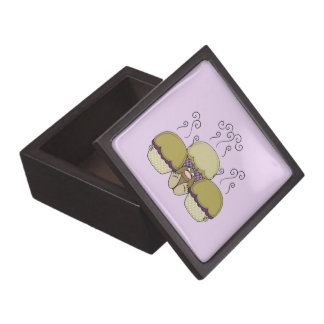 Cute Monster With Yellow & Purple Frosted Cupcakes Premium Trinket Boxes
