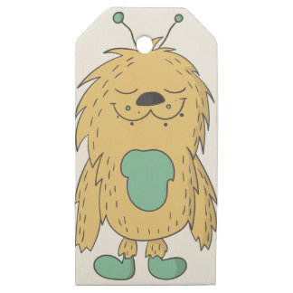 cute monster wooden gift tags
