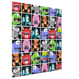 Cute Monsters Aliens and Devils Stretched Canvas Print