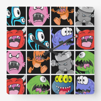 Cute Monsters Aliens and Devils Square Wallclock