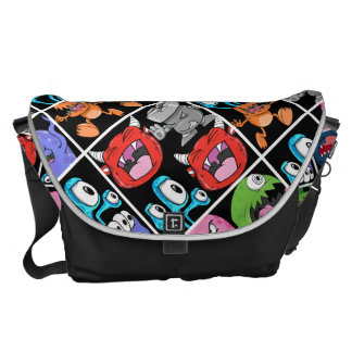 Cute Monsters Aliens and Devils Courier Bag