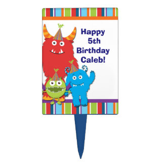 Cute Monsters Birthday Party Kids Cake Pick Topper