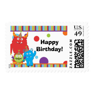 Cute Monsters Custom Text Birthday Postage Stamp