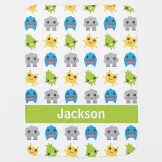 Cute Monsters Green Teal Blue Kids Personalized Baby Blanket