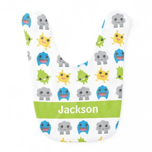 Cute Monsters Green Teal Blue Kids Personalized Bib