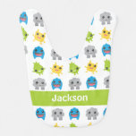 Cute Monsters Green Teal Blue Kids Personalized Baby Bibs