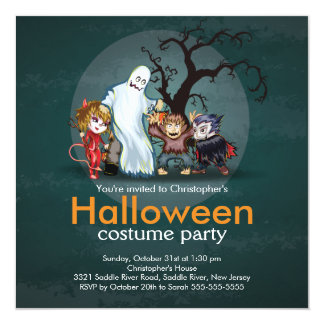 Cute Monsters Halloween Costume Party Invitation