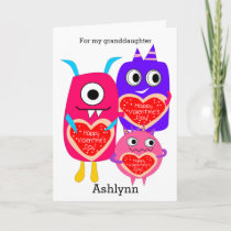 Cute Monsters Happy Valentine's Day Granddaughter Holiday Card