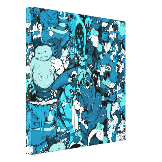 Cute Monsters in Blue, Black & White Canvas Prints
