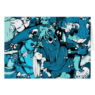 Cute Monsters in Blue, Black & White Card
