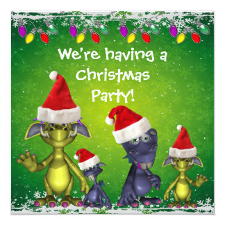 Cute Monsters in Santa Hats Christmas Party Invite