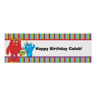 Cute Monsters Kids Birthday Party Custom Banner Poster