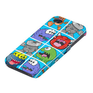 Cute Monsters on Blue Background iPhone 4 Cover